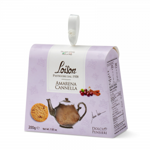 Cherry biscuits - fine butter cookies in a gift box Loison